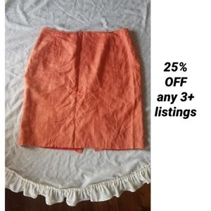 Linen coral lined pencil skirt Courtenay vintage